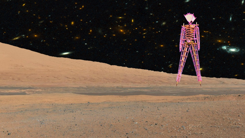 Man on Mars at night
