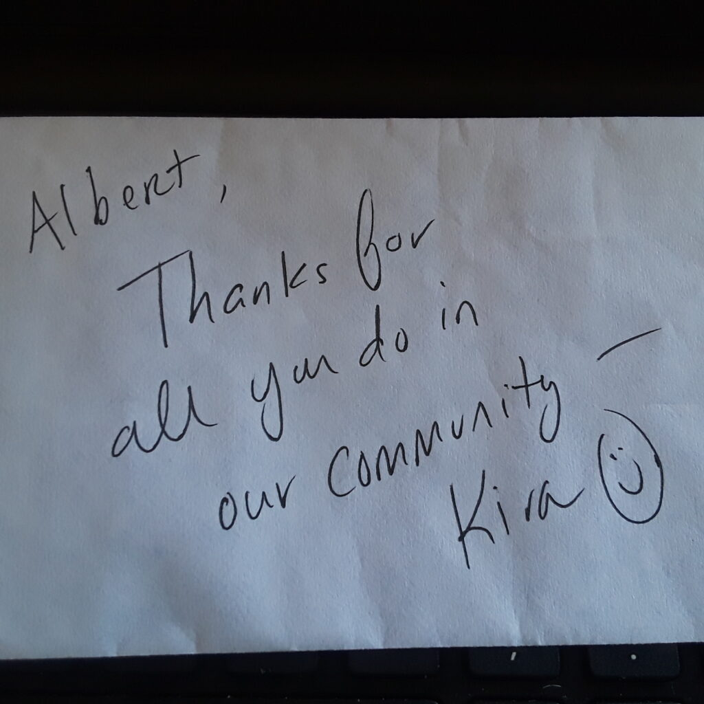 A note from a neighbor